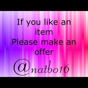 If you like an item Please make an offer